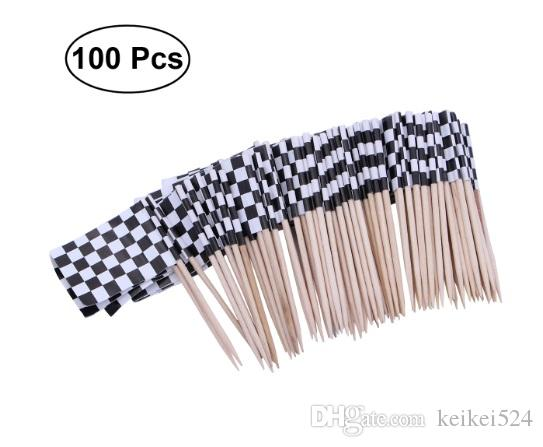 Livraison gratuite Drapeau De Course 100 Pcs Papier Aliments Pics Dîner Gâteau Cure-Dents Cure-dents Cupcake Toppers Décoration Fruit Cocktail Sticks