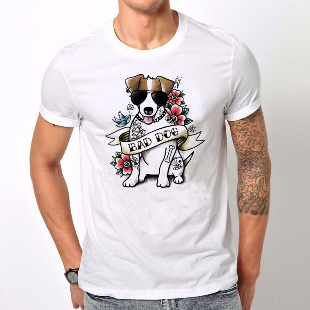 Divertente criminale Jack Russell Station Mugshot T-Shirt Estate Uomo T-shirt Bad Dog Design Top Cool divertente maschio Tee