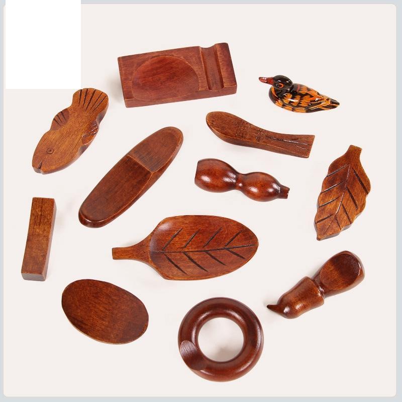 Supporto di legno bacchette cremagliera Resto basamento del mestiere di arte della decorazione della casa da tavola pesce dumbbell circolare Holder foglia forma bacchette GGA3071-4