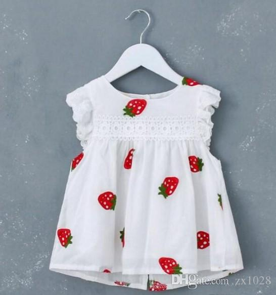 hot selling New Arrival Summer child Sleeveless Girls Dress Cute Strawberry High Quality Cotton White Baby Dresses
