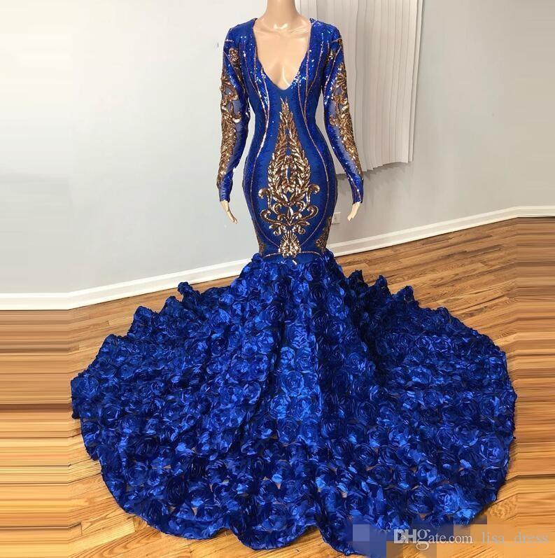 2020 V profundo Pescoço Evening Partido negras chique Royal Blue Prom Vestidos mangas compridas Flowers Gold Lace Applique Sexy Vestido Custom Made
