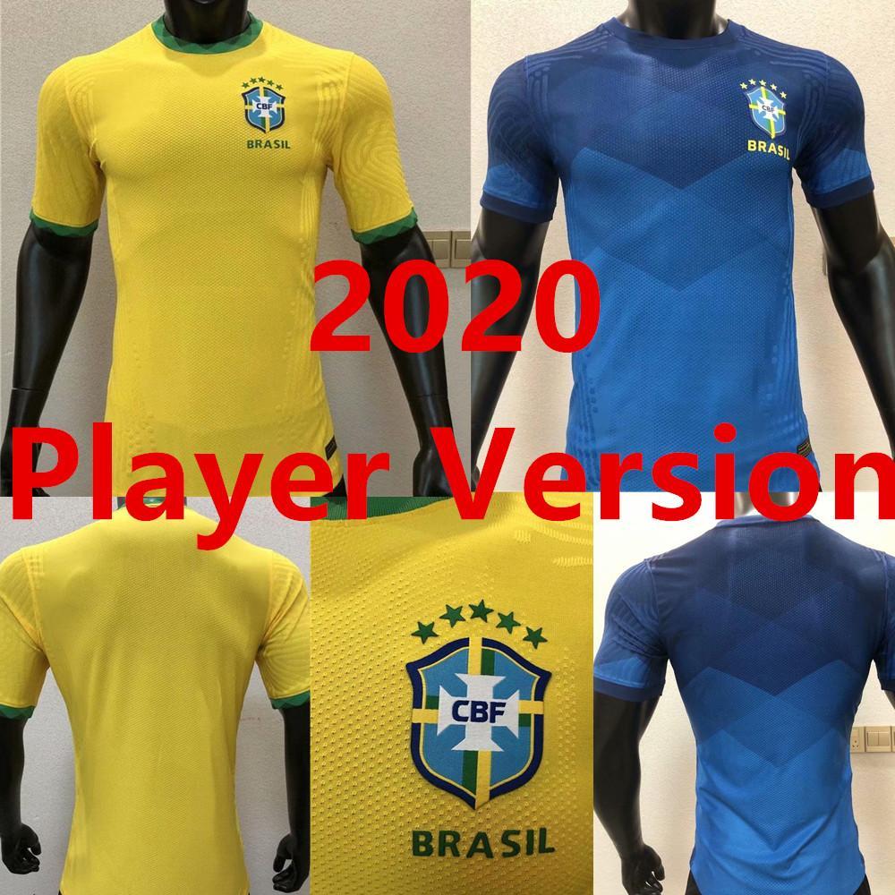 플레이어 버전 2020 Copa America 멀리 노란색 10 # Neymar JR 축구 유니폼 20 21 # 11 P.Coutinho Shirt # 12 Marcelo 축구 유니폼