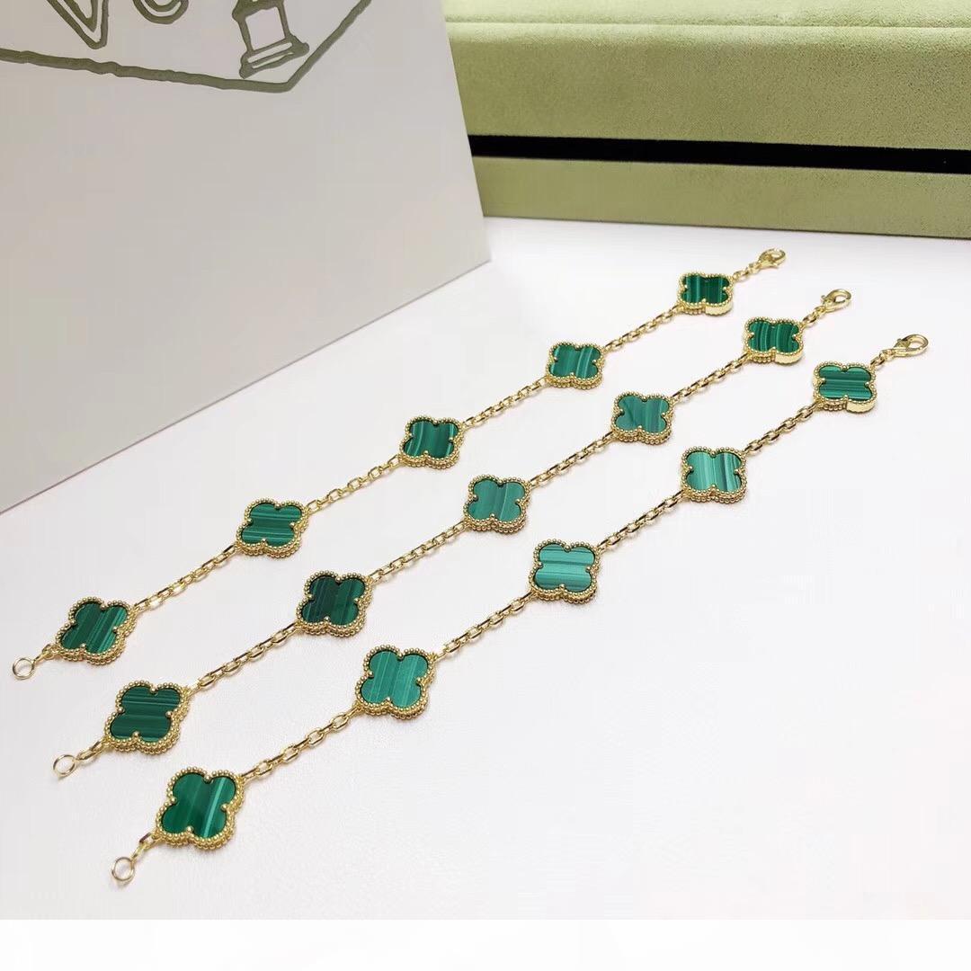 Luxuriöse Qualität Punkarmband mit fünf Blumennatur grüner Malachit Frauen Engagement Schmucksachen freien Verschiffen PS3447