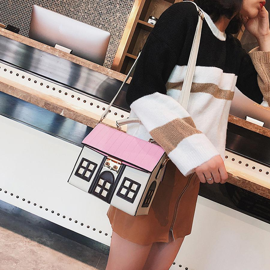 Design Pu Leather Funny Cute Cartoon House Handbag Women's Personality Handbag Ladies Shoulder Crossbody Messenger Bag Bolsa New