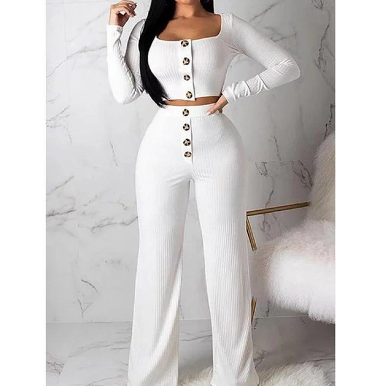 Traje de chándal Mujeres 2 piezas Conjunto de manga larga Cardigan Slim Button Set Casual Set Suéter Top + Cintura elástica Pantalón Pantalón Traje de punto Abrigo