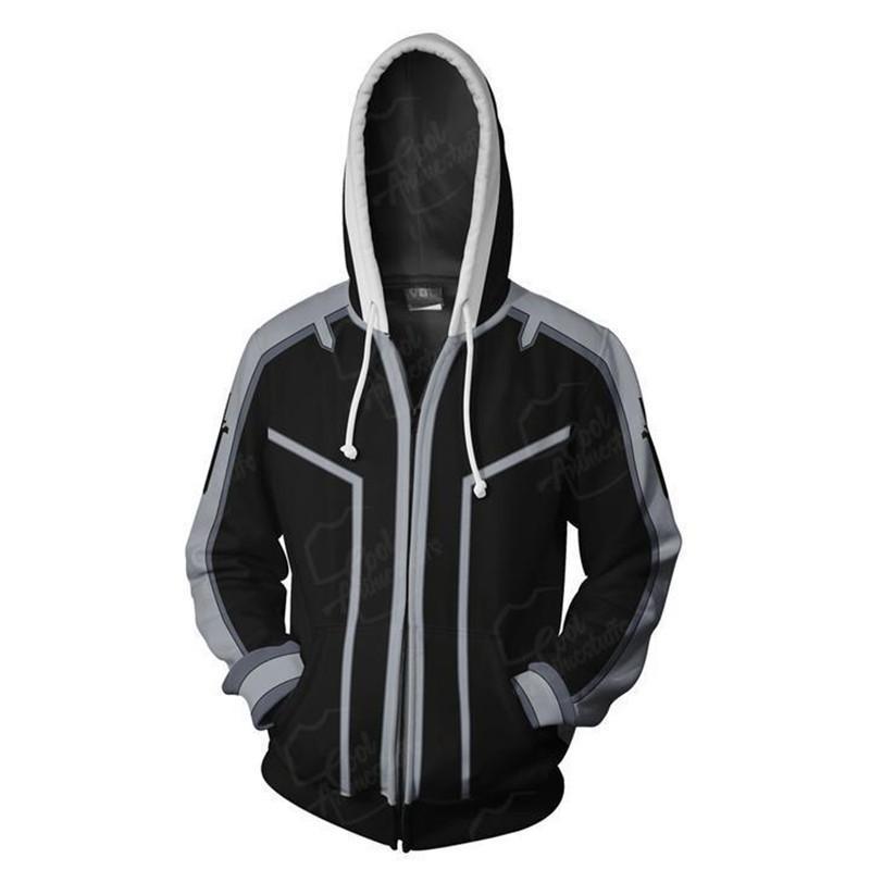 New sword art online Anime 3D print zipper streetwear Hoodie sports jacket men's Hip Hop jogger long sleeve Sweatshirt
