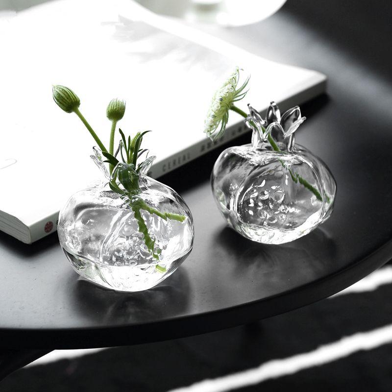 Mini jarrón de vidrio de granada Florero hecho a mano Vidrio transparente Flor de flores de flores hidropónico Artesanía Artesanía Decoración de escritorio