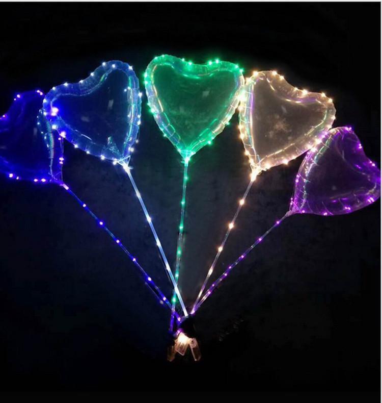 200pc neue Liebe LED-Ballon-Beleuchtung Transparente Bobo Kugel Love Heart Shaped Linie String-Ballon mit Stock-Hochzeit Geburtstag Partei-Dekoration