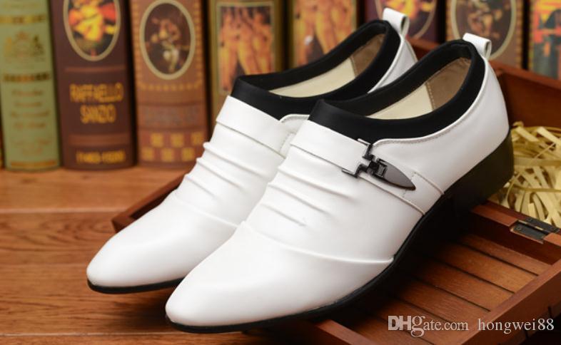 2019 zapatos de los hombres en primavera y otoño con nuevo estilo tacón bajo extremo puntiagudo @ 2075