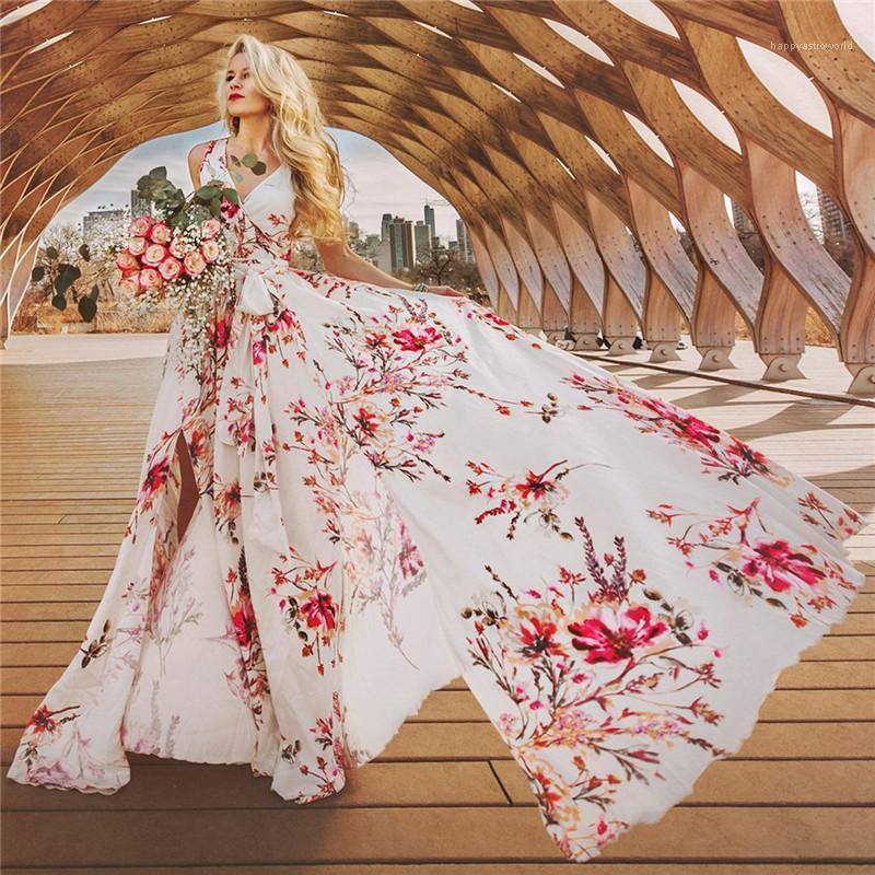 Moda Impresso Floral mangas Vestidos Sexy Womens V Vestidos Pescoço férias mulheres Bohemian Vestidos