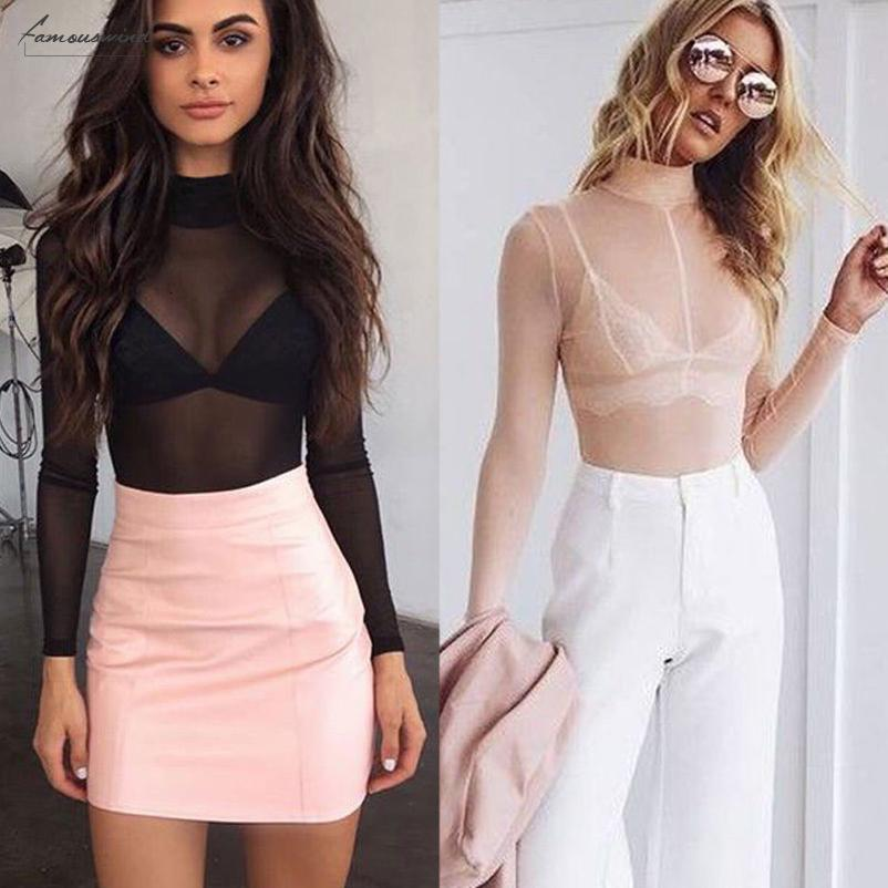 Art und Weise Sommer-reizvolle Frauen-Bluse Frauen Net Langarm Durchsichtig pur Top Semi Transparent Bluse