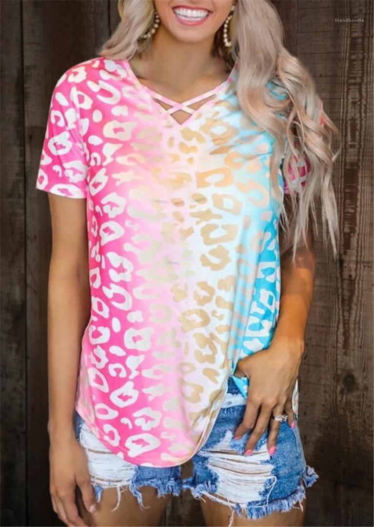 Многоцветное лето женщин Tops градиент цвет леопардовых МАЕК для женщин Моды V шеи с коротким рукавом Свободного Tees Casual