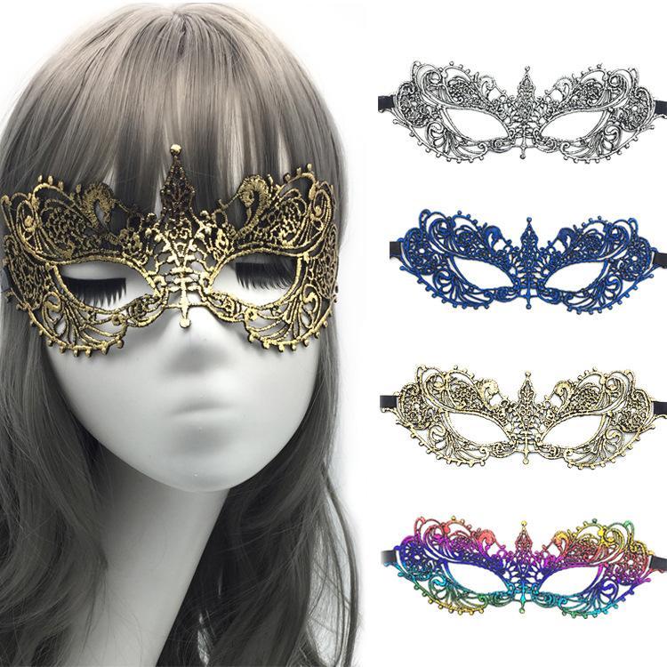 Moda arco-íris de prata dourado azul do laço Halloween metade do rosto Máscara Máscaras Partido Decoração Masquerade Craft o favor de partido Decor Evento de Natal
