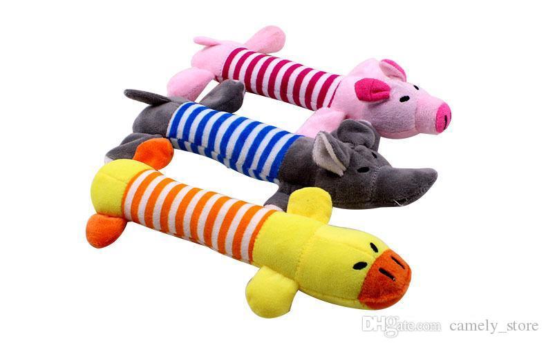 Bonito cão brinquedo pet filhote de cachorro pelúcia touch theether mastigo squeaker squeaky porco elefante pato brinquedos lindos pet mastigas brinquedos