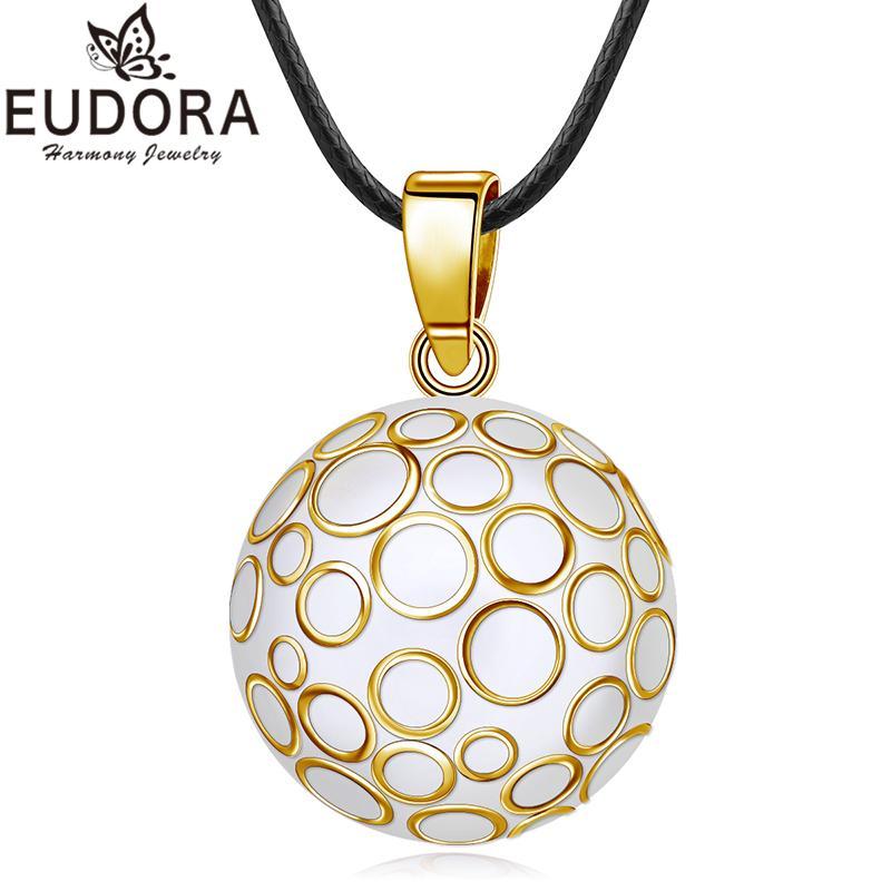 Eudora 22 mm Bola Mexicana Bola de Armonía Chime Golden Bubble Sound Bell Embarazo Collar Colgante Para Las Mujeres Joyería de Moda Regalo C19041704