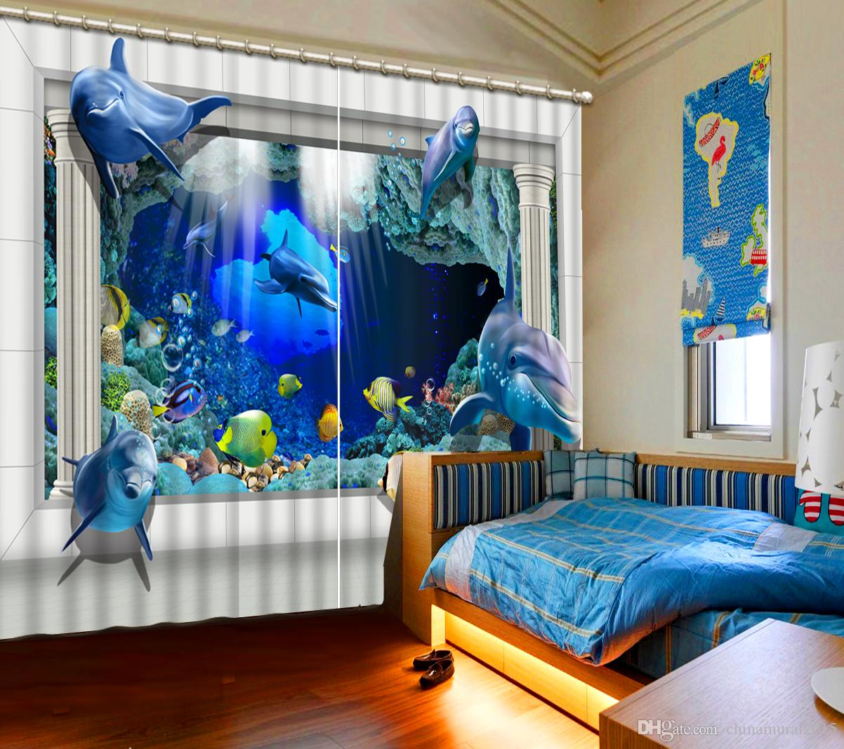 short curtBlackout For The Bedroom Painting Photcustom 3d curtain Creative circle green curtains window curtains for living room luxurious m