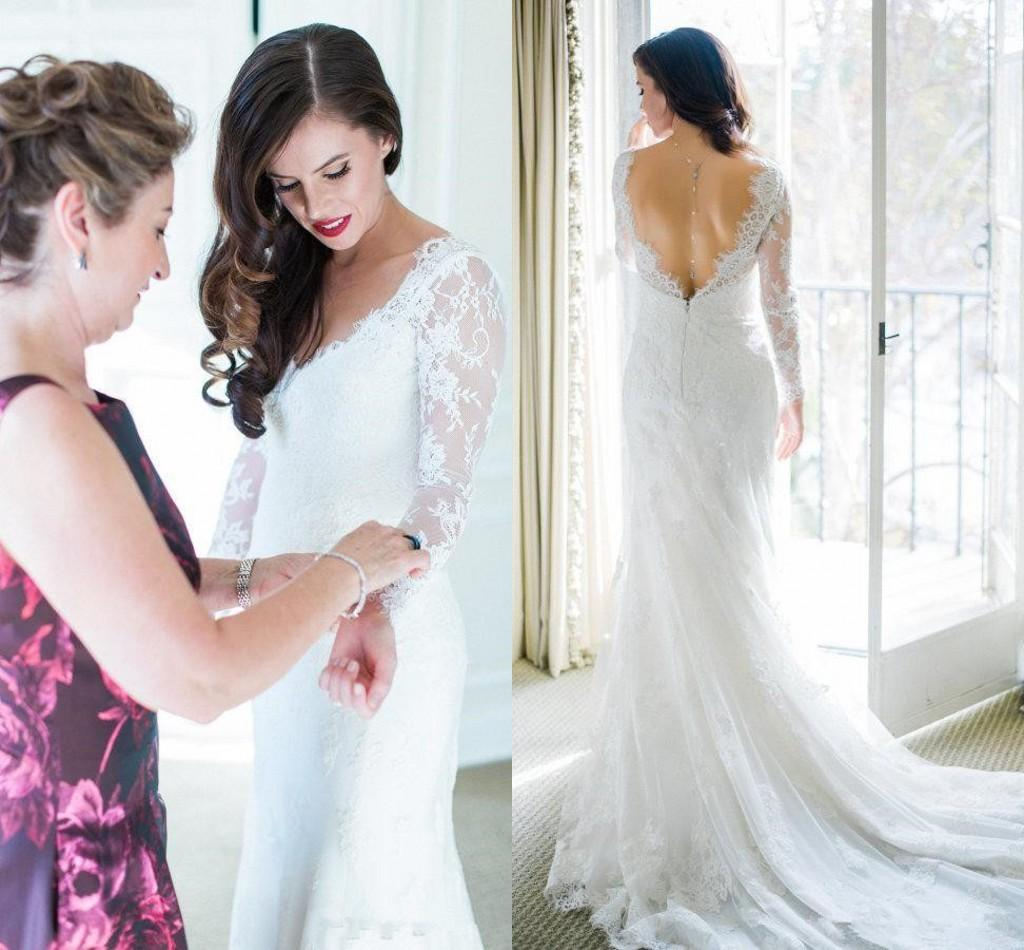 Sereia do vintage Vestidos de Casamento Boêmio 2019 Lace Apliques Mangas Compridas V Neck Plissado Sweep Train Plus Size Vestidos de Noiva