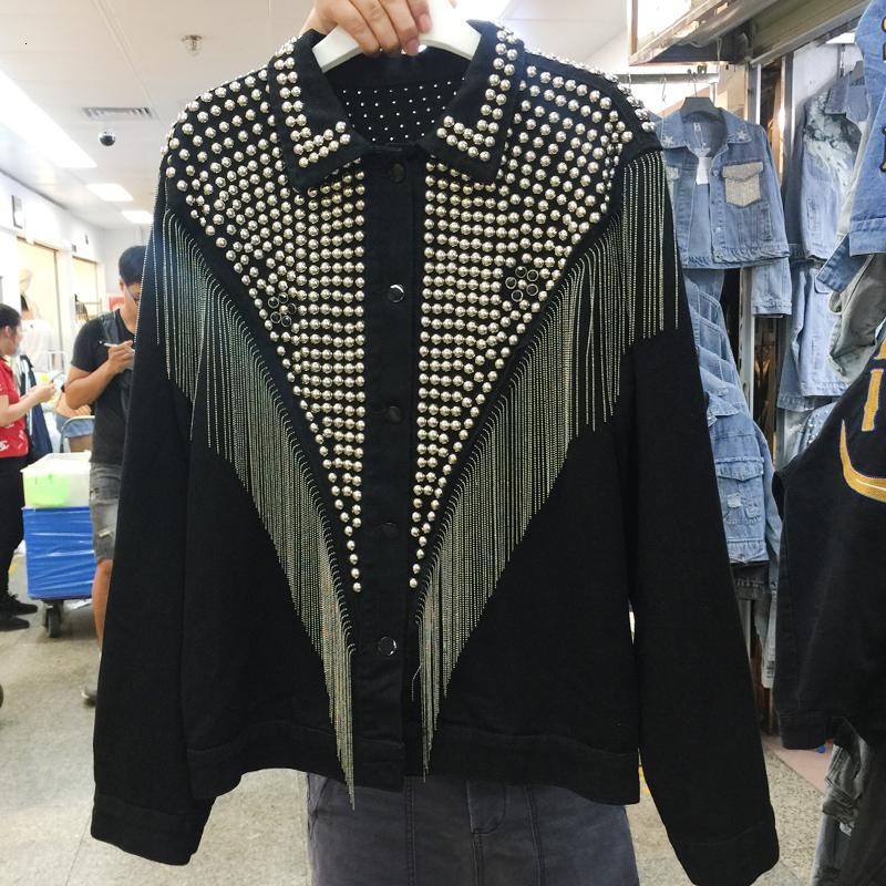 [EWQ] 모터 스톰 긴 소매 다이아몬드 박힌 술 플러스 크기 조절기 데님 재킷 한국어 긴 소매 검은 색 여성 코트 QL148