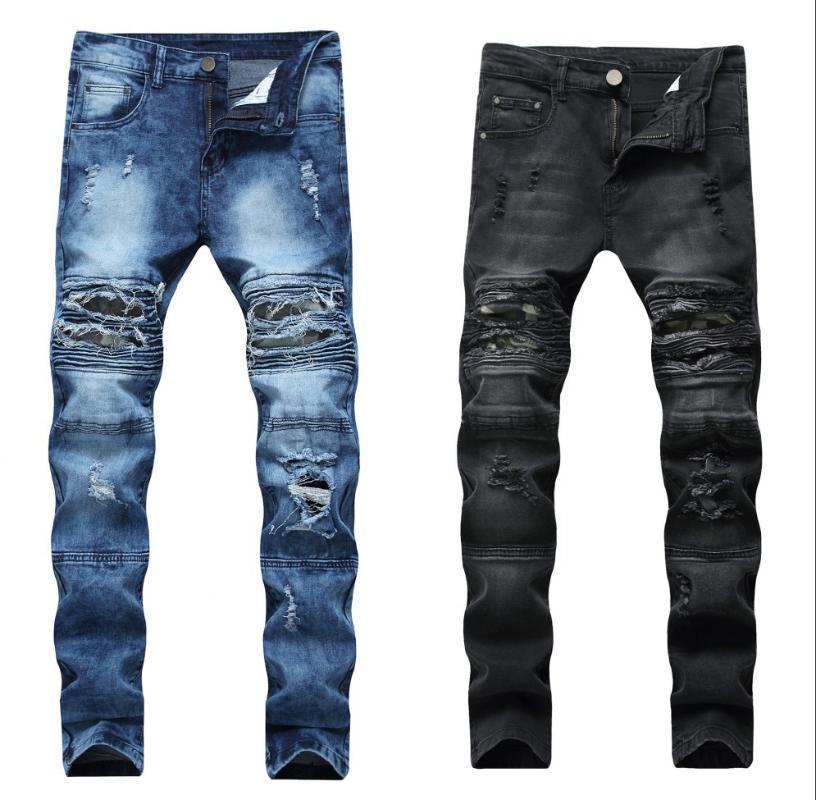 Compre Qmgood Alta Calidad Pantalones Rotos Moda De Los Hombres 2020 Nuevos Pantalones Para Hombre Slim Fit Jeans Gastados Motorista Dril De Algodon De Los Hombres Mas Del Tamano A 32 91