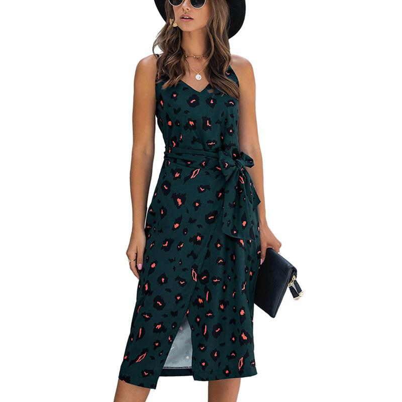Summer Women Vintage Print Dress Sexy Backless Long Casual Sundress Black White Dresses 2020 Fashion Summer Clothes For Women