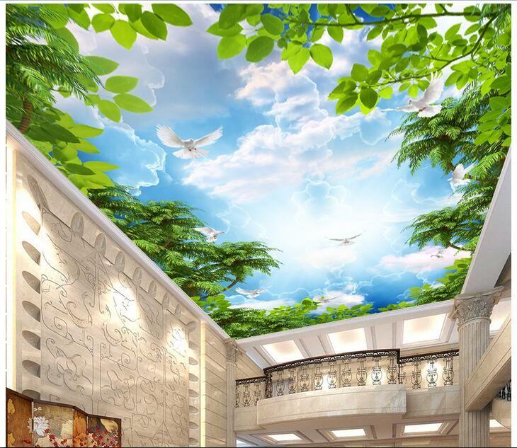 WDBH 3d decke wandbilder wallpaper benutzerdefiniertes foto Tropischer regenwald himmel wolken weiße taube wohnkultur 3d wandbilder wallpaper für wände 3 d
