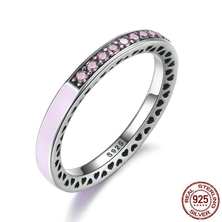 2020 Весна Новая Европа 925 Серебрянные лучистого сердца 3Colors Кристалл Эмаль Clear CZ кольца Свадебные ювелирные изделия