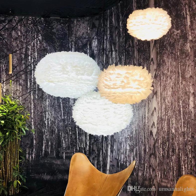 Lâmpadas de pingente de moderno luzes led branco pena pingente de luz para casa iluminação interior crianças quarto lâmpada restaurante sala de jantar sala de estar luz