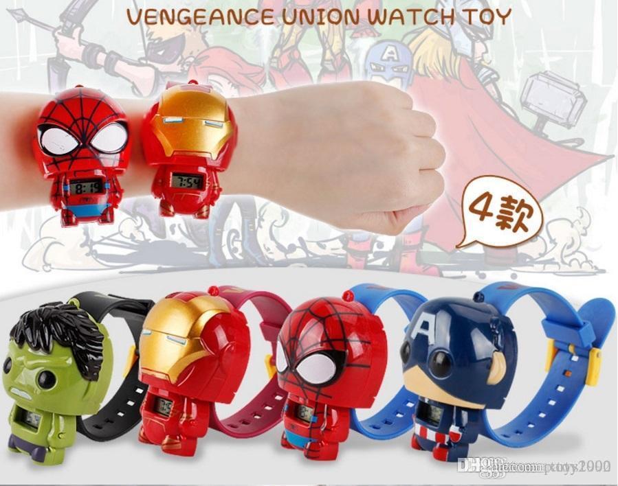Karikatür Avengers Iron Man Yeşil Dev Örümcek Kaptan Amerika İzle Doll Deformasyon Oyuncak Boy Kız Çocuk İzle Oyuncak Noel Hediyesi 666