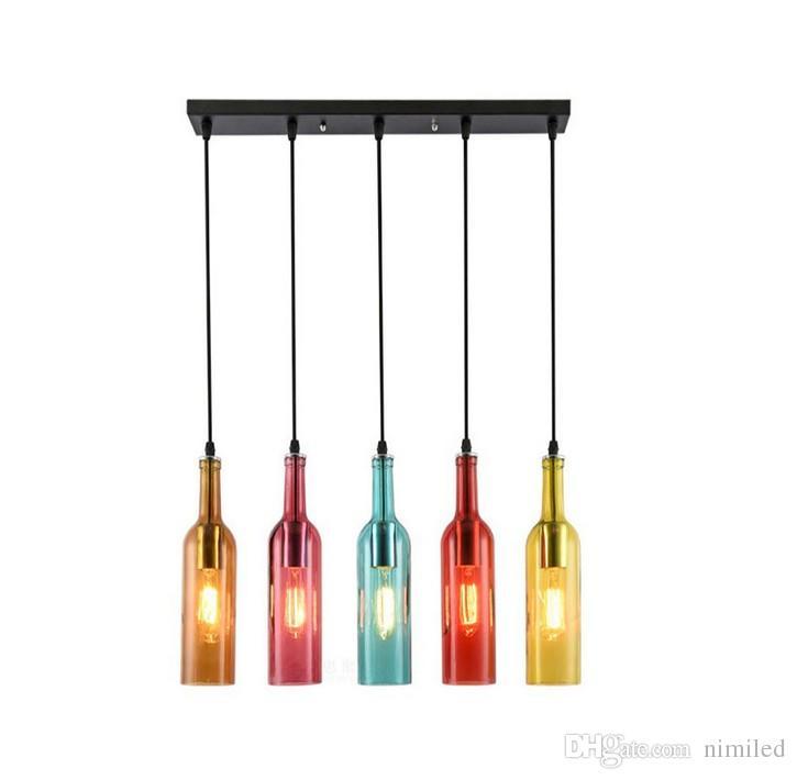 Vintage LED chandelier Lamp E27 Red Wine Bottle Glass Pendant Light Restaurant Cafe Bar Hotel Wine Bottle Hanging Lamps LLFA