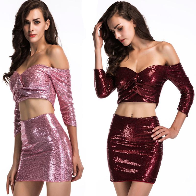 Neues elastisches Paillettenkleid mit einem Kragen für europäische und amerikanische Frauen