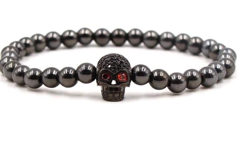 Mode rg435 elastische angepasst Schädel Kupfer Perle micro pflastern cz Zirkon Zirkonia ball Schmuck Armband