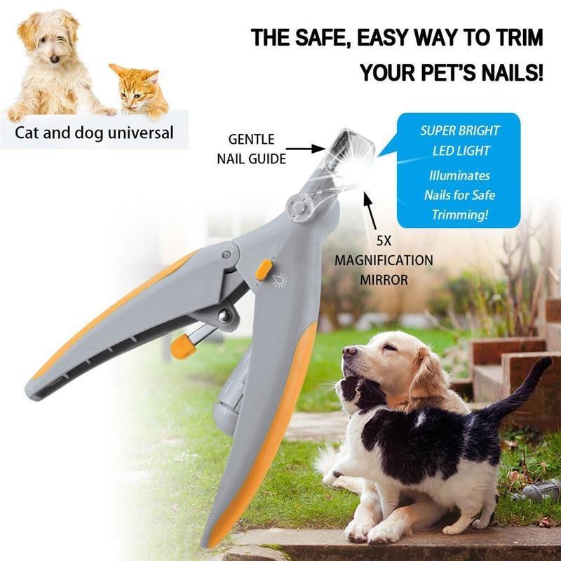 Profissionais prego Cat Dog Pet Clippers Trimmer com luz LED Grooming eléctricos Moedores Scissors Toe Garra unhas Pet Products