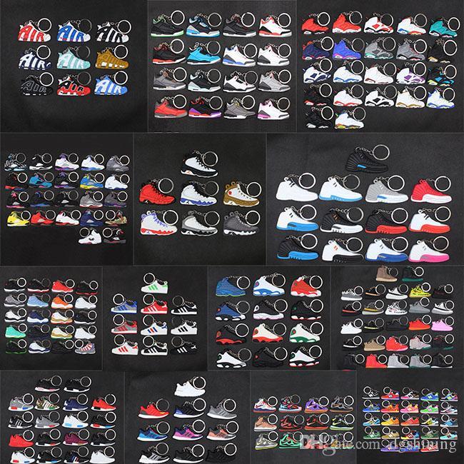 Mini Sneaker silicone Trousseau Femme Homme Enfant Porte-clés Porte-clés sac-cadeau Charm Accessoires Chaussures de basket-ball porte-clef