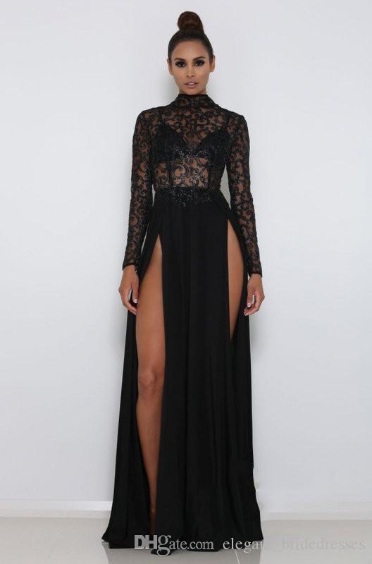 Sexy manches longues manches longues front fragées robes de soirée de dentelle noire paillettes longueur longueur robe de bal vestidos de fiesta robes de Soirée