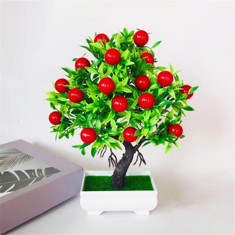 Artificielle Plante en pot Home Office Hôtel plastique ornement d'arbre Présentoir Faux verdure en pot, Pêche