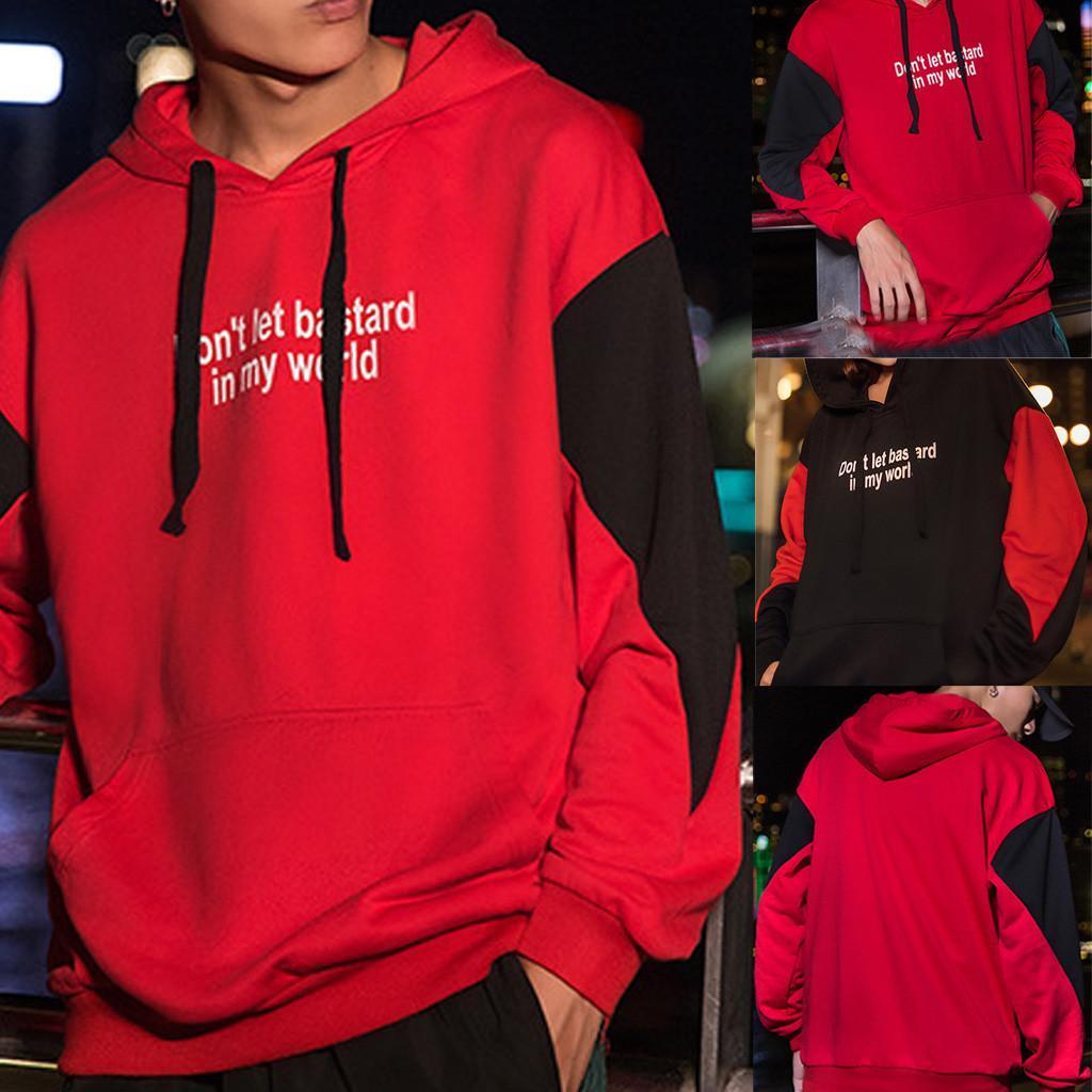 Мужчины уличная толстовка 2019 повседневная мода лоскутное толстовка карман хип-хоп толстовка пуловер уличная Мужская одежда
