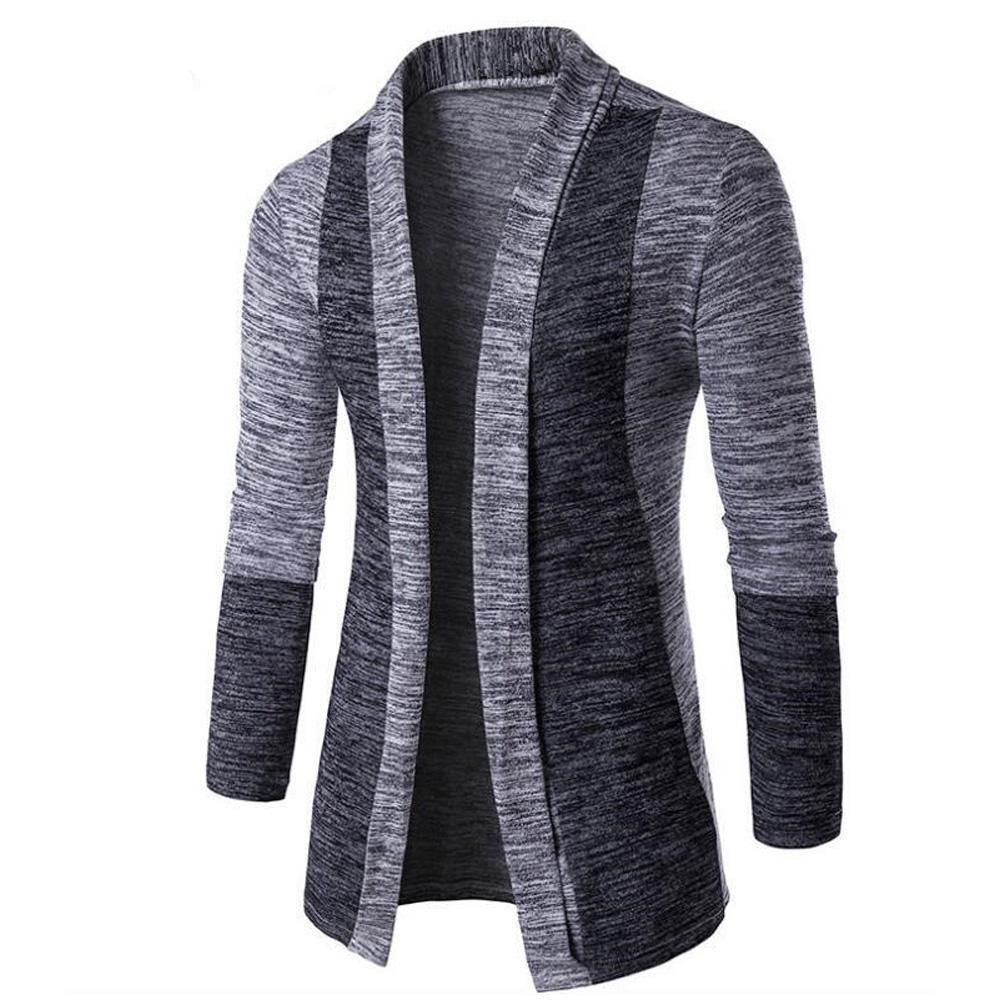 Мужской Пальто Осень Плюс Размер Пальто Мода Трикотаж Верхняя Одежда Повседневная Цвет Блок Открытый Спереди