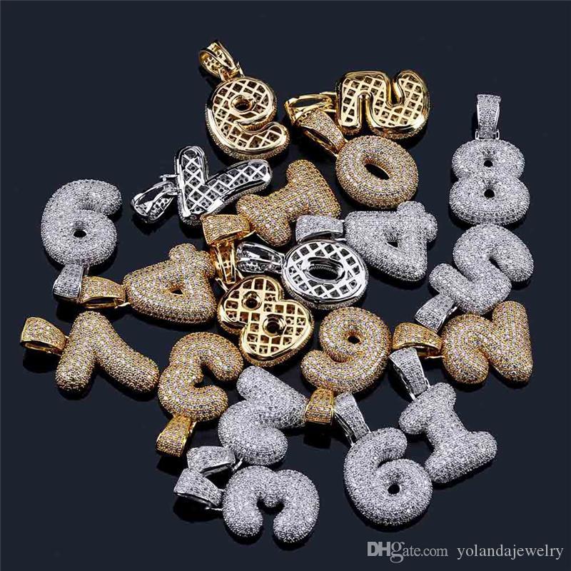 Hohe Qualität Iced Out CZ 0-9 Anzahl Anhänger Halskette mit 24inch Seil Kette Gold-Silber-Farben-Halskette für Männer Frauen