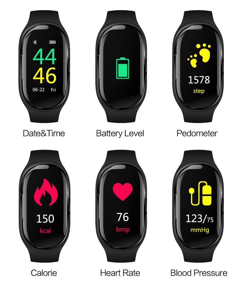 relógio inteligente M1 Com fone de ouvido Bluetooth sem fio Earbud Heart Rate Monitor inteligente Pulseira Long Time espera Sport Watch