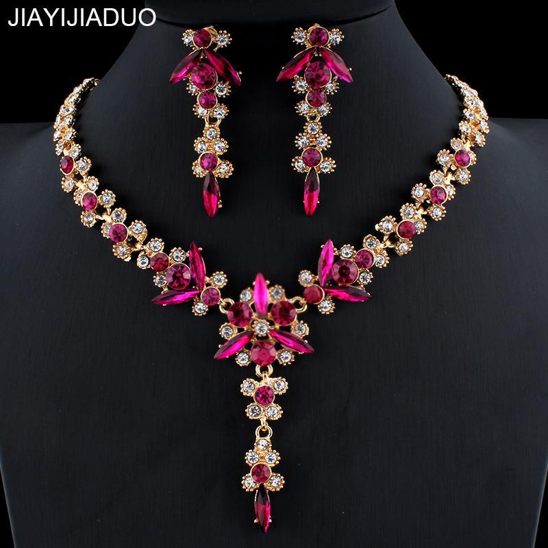 jiayijiaduo 5 색 새로운 크리스탈 웨딩 보석 세트 여성 골드 컬러 목걸이 긴 귀걸이 세트 드레스 액세서리 들러리