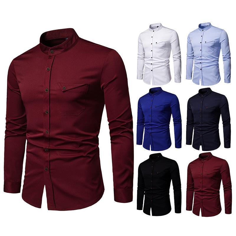 Compre Hombres Camisas De Boda Camisa De Vestir De Manga Larga Con Cuello Redondo Fiesta De Negocios De Moda Camisa Casual Sólida Con Botones Ropa De