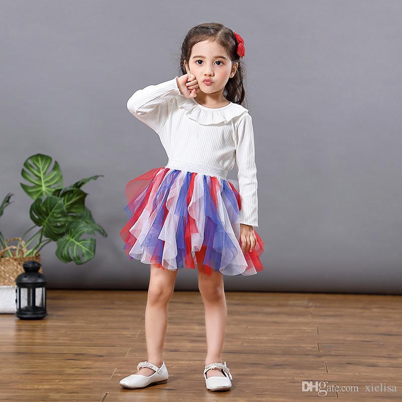 Baby girls uneven rainbow tutu Princess colorful pettiskirt Tulle mesh ball gown Rainbow unicorn tutu skirt