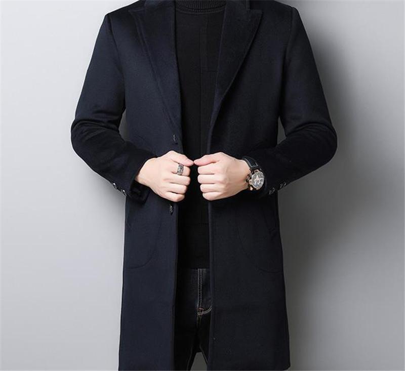 Дизайнер Зимнее Пальто Мода Свободные Толстые Шерстяные Пальто Мужские Сплошной Цвет Теплые Пальто
