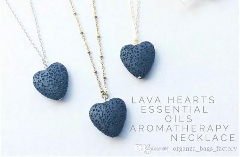 Coração de pedra de lava rocha contas pingente longo colares declaração de aromaterapia óleo essencial difusor gargantilha colares mulheres homens jóias