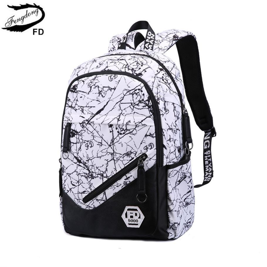 FengDong fashion school backpack for teenage girl kids school bag waterproof fabric cheap backpacks for children boys backpack
