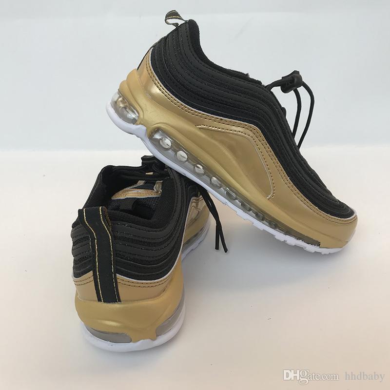 Großhandel Nike Air Max 97 Baby Kinderschuhe Kanye West Zebra Laufschuhe 2019 Kinder Athletic Beluga 2.0 Sport Turnschuhe Schwarz Silbrig Golden 28 35