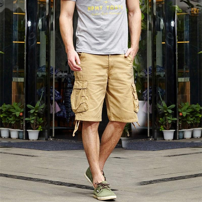 2020 homens verão Baggy multi bolso Militar carga Shorts Masculino algodão Khaki Mens Tactical Shorts Calças Curtas 29-44 Não Belt CX200707