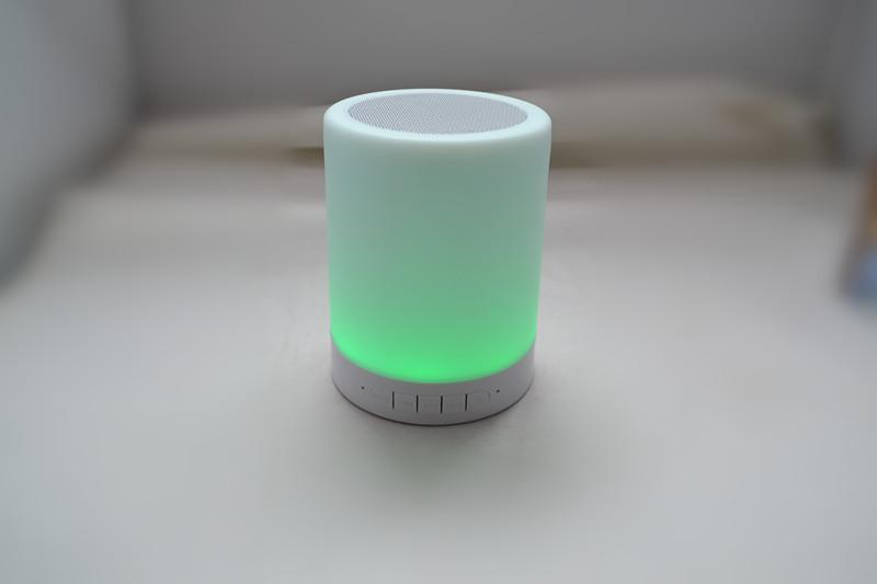 2019 Portable wireless mini outdoor touch sensor led table lamp with mini speaker with FM radio easy to operate key design