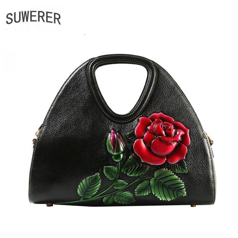 SUWERER Kadınlar Gerçek Deri çanta kaliteli lüks çanta moda sığır derisi Kabartma çanta tasarımcısı çanta kadınlar