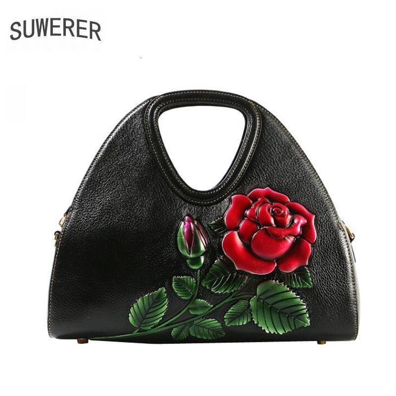 SUWERER Women Genuine Leather handbags quality Luxury handbags fashion cowhide Embossing bag designer bags women